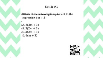 6th Grade Common Core Task Cards - Set 3  (with QR Code Scanners)