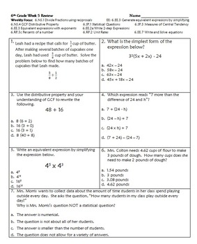 6th Grade Common Core Weekly Reviews 1 - 5