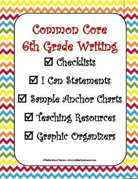 6th Grade Common Core Writing Checklists, I Can Statements