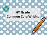 6th Grade Common Core Writing Standards Poster