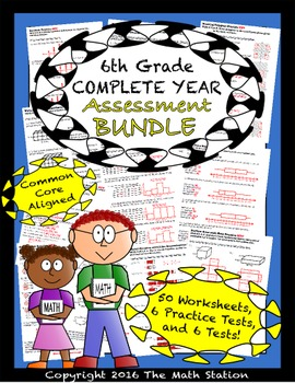 6th Grade Complete Year Assessment Bundle - Worksheets & Tests