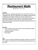 Restaurant Math - Real World Project