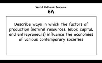 6th Grade Contemporary World Cultures TEKS 2019-2020