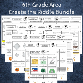 6th Grade Area Create a Riddle Bundle - 10 Riddles Included