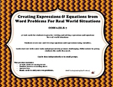 6th Grade Creating Expressions & Equations from Real World