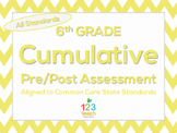 6th Grade Cumulative Pre & Post Test Assessment for Common Core State Standards