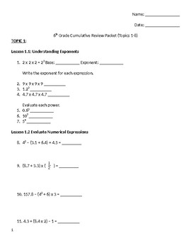 6th Grade Cumulative Review Packet