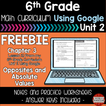 6th Grade Math Curriculum Opposites and Absolute Value using Google FREEBIE