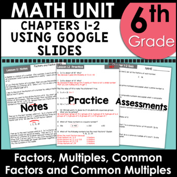 Distributive Property, GCF, LCM, and More 6th Grade Math Unit One using Google