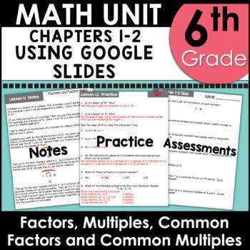 Distributive Property, GCF, LCM, and More 6th Grade Math Unit One using Google