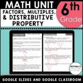 Factors Multiples and Distributive Property 6th Grade Math
