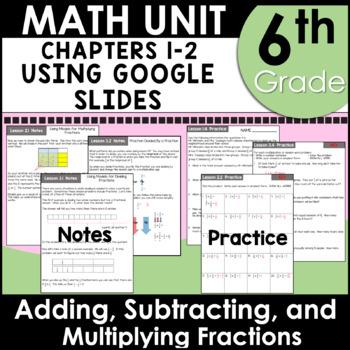6th Grade Math Fractions Curriculum Unit Three using Google