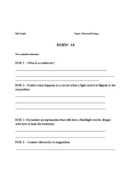 6th Grade Science Homework Sample