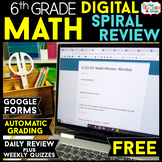 6th Grade DIGITAL Math Spiral Review & Weekly Quizzes | Google Forms | FREE