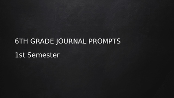 6th Grade Daily Journal Prompts