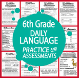 "6th Grade LANGUAGE Practice and Assessments + 17 FULL COLOR ""I Can"" Posters"