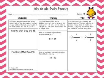 6th Grade Daily Math Fluency Practice 6.NS.1, 6.NS.2, 6.NS.3, 6.NS.4