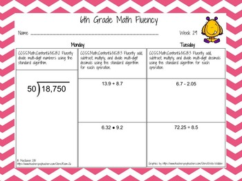 6th Grade Daily Math Fluency Practice 6.NS.1, 6.NS.2, 6.NS