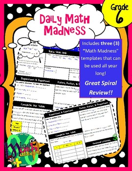 6th Grade Daily Math Madness [Daily Spiral Review Activity]