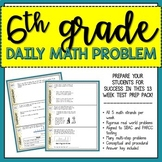 6th Grade Daily Math Problem (SBAC & PARCC Math Test Prep)- 3 Week Prep!