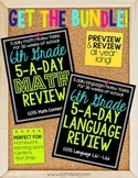6th Grade Daily Math and Language Spiral Review Bundle  Mo
