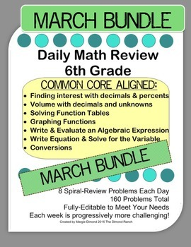 6th Grade Daily Math Review *MARCH BUNDLE*