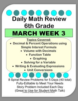 6th Grade Daily Math Review *MARCH Week 3*