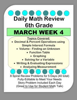 6th grade daily math teaching resources teachers pay teachers 6th grade daily math review march week 4 fandeluxe Gallery