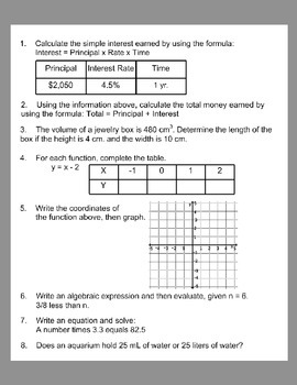6th Grade Daily Math Review *MARCH Week 4*