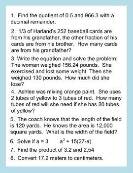 6th Grade Daily Math Review *FEB BUNDLE*