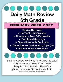 6th Grade Daily Math Review *FEB Week 2*