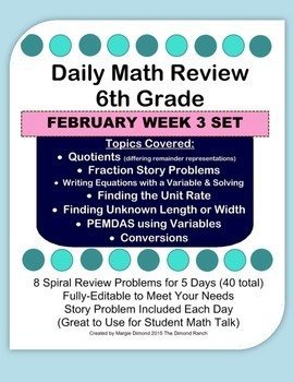 6th Grade Daily Math Review *FEB Week 3*
