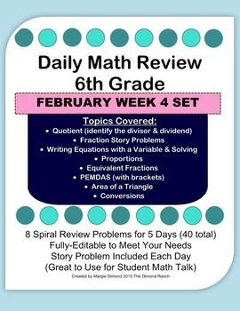 6th Grade Daily Math Review *FEB Week 4*