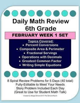 6th Grade Daily Math Review *FEB Week 1*