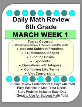 6th Grade Daily Math Review *MARCH Week 1*