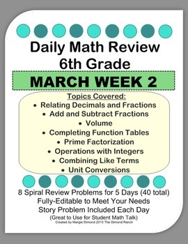 6th Grade Daily Math Review *MARCH Week 2*