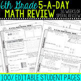 6th Grade Daily Math Spiral Review  Morning Work