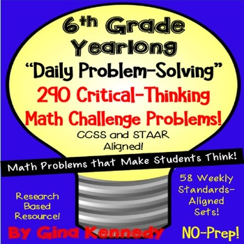 6th Grade Daily Problem Solving, 290 Math Challenge Problems! (Growing Bundle)
