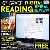 6th Grade DIGITAL Reading Comprehension Practice & Quizzes | Google Forms | FREE