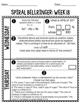 6th Grade Daily Spiral Bellringer Review Quarter 3