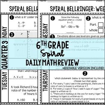 6th Grade Spiral Bellringer Review Quarter 3