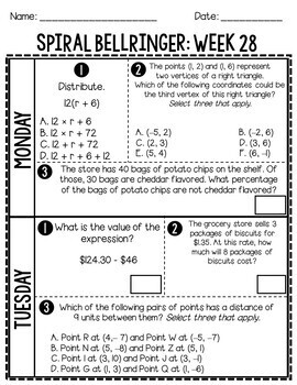 6th Grade Spiral Bellringer Review Quarter 4