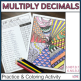 6th Grade Decimal Multiplication Coloring Review for Halloween
