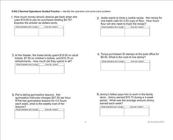 6th Grade Decimal Operations Word Problems: 1-step and 2-step (Test Prep)