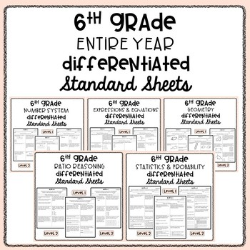 6th Grade Differentiated Standard Sheets Bundle