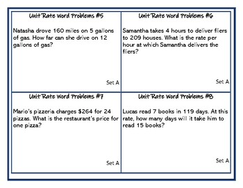 6th Grade Differentiated Unit Rate Word Problems