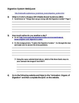 6th Grade Digestive WebQuest
