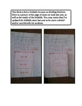 6th Grade Dividing Fractions Lesson: FOLDABLE & Homework