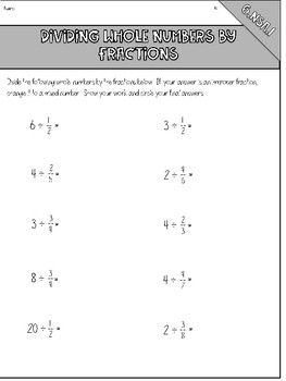 Dividing Whole Number by Fractions Notes & Practice Pages