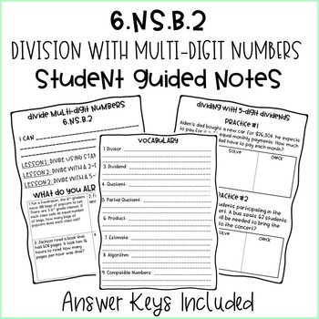 6th Grade Division with Multi-Digit Numbers Student Guided Notes